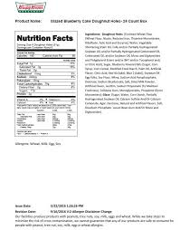 Dunkin Donuts Allergen Chart Donut Hole Nutrition
