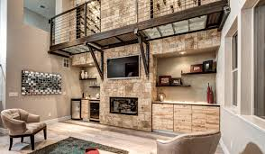 Stone Accent Wall contemporary-family-room