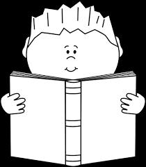 black and white boy reading a book