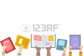 border ilration of kids putting open books up in the air