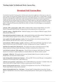 Outbreak Movie Worksheet - Checks Worksheet