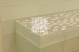 shower bench in malibu glass tile