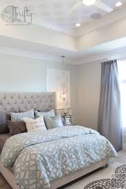 Master Bedroom Inspiration | Taupe and Light Blue Bedroom | Blue and White  Patterned Duvet