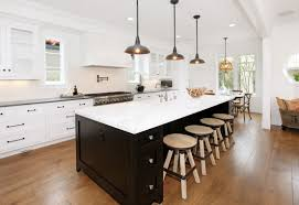 Decorations:Charming Kitchen Design With Long Black Kitchen Island And  Vintage Black Kitchen Lighting Idea