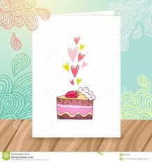 Happy Birthday Postcard Template With Cake Stock Vector