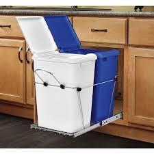 ... Kitchen, Marvellous Lowes Kitchen Trash Cans Galvanized Trash Can White  And Blue Kitchen Trash:
