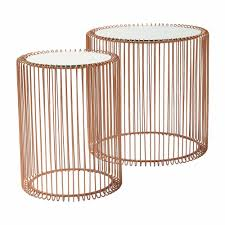 mirrored copper side tables set of 2