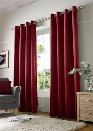 plain chenille lined red ring top curtains 6 sizes