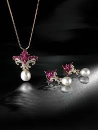 farah khan for tanishq ruby pendant with a south sea pearl drop accented with diamonds set