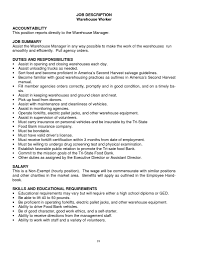 Duties Of A Warehouse Worker For Resume Resume Templates