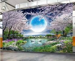 3D Mural Wall Paper Moon Cherry Blossom ...