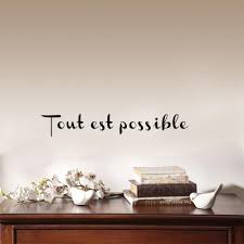 Tout Est Possible French Motivational Inspirational Quote Vinyl Wall Stickers For Living Room Home Decor