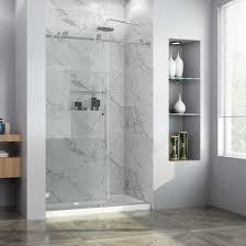details about elegant 48 wx76 h sliding frameless shower door w 3 8 glass brushed nickel