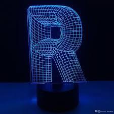 2019 R Shape 3d Illusion Lamp 3d Optical Led Lamp Letters Decoration