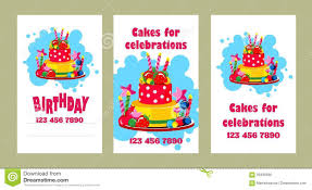 Birthday Business Cards Cake Business Card Stock Vector Illustration Of Brochure 95438560