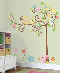 Owls on a Tree Wall Decals for Kids Rooms - Owl Scroll Tree Wall Stickers