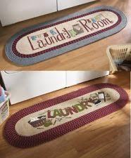 Laundry Room Decorative Braided Runner Rug Vintage Look Blue Burgundy NEW