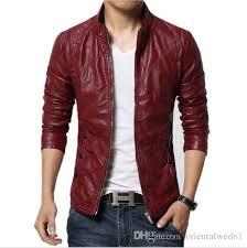 fashion pu leather jacket men black red brown solid mens faux fur coats trend slim fit youth motorcycle suede jacket male denim jacket sheepskin collar