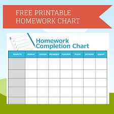 Completed Assignments Chart Printable Homework Completion Chart Homework Chart