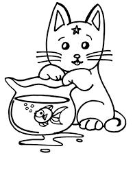 Gatto Che Gioca Con Pesciolino Rosso Disegno Da Colorare Disegni