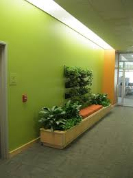 green office ideas awesome. Fancy Green Walls And Interior Planting Decoration With Orange Bench Ideas For Awesome Office C