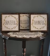 Wooden Grateful Thankful Blessed Signs Set Of Farmhouse