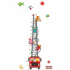 170cm Fire Engine Ladder Height Stickers Cartoon Animal