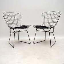 pair of vintage harry bertoia wire chairs