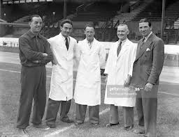Chelsea manager Ted Drake with his backroom staff, : Albert Tennant ,...  News Photo - Getty Images