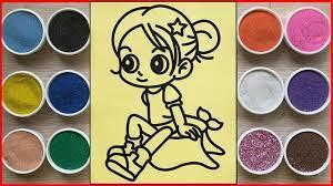 Đồ chơi TÔ MÀU TRANH CÁT BÚP BÊ CHIBI CÔ GÁI - Sand painting chibi doll  toys (Chim Xinh) - YouTube