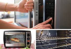 photo collage of microwave oven toaster oven and convection oven