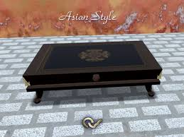 Asian themed furniture Walnut Table Asian Style Furniture Japanese Or Chinese Evimed Second Life Marketplace Table Asian Style Furniture Japanese Or
