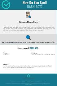 Correct Spelling For Rash Act Infographic Spellchecker Net