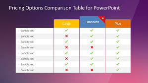 Pricing Options Comparison Table For Powerpoint
