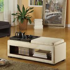 cancun double tray bench coffee table tables leather armen living lc6019b