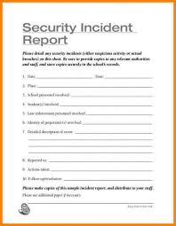 Security Incident Report Template Incident Report