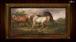 horses towne paintings background wallpaper