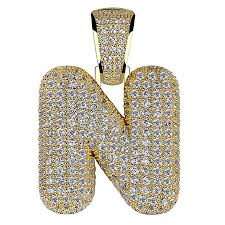 hechuang micropave simulated diamond iced out bling custom bubble letters pendant with rope chain b07c3p1jjl