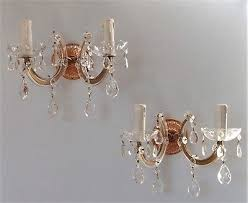 pair vintage french bohemian style glass glass crystal chandelier wall lights