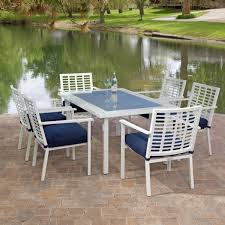 white iron outdoor furniture.  Outdoor Patio White Metal Outdoor Furniture With Blue Cushions Installed In  And Patio On Iron E