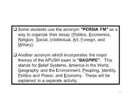 writing the leq ppt some students use the acronym persia fm as a way to organize their essay politics