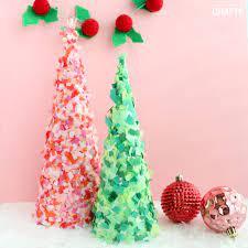 paper mache tree decor confetti cones