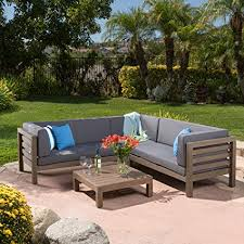 Wood outdoor sectional Wooden Amazoncom Ravello Outdoor Patio Furniture Piece Wooden Sectional Sofa Set Wwater Resistant Cushions grey Garden Outdoor Amazoncom Amazoncom Ravello Outdoor Patio Furniture Piece Wooden Sectional