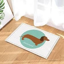 hisoho cartoon dog decor a lovely dachshund in blue bath rugs for bathroom non slip floor