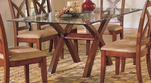 furniture inspiring glass top dining table with wooden base and 6 dining chairs square
