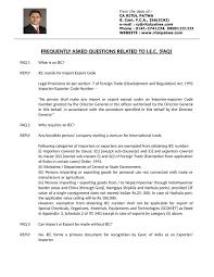 Requirements Faqs For Registration Of Import Export Code Iec No