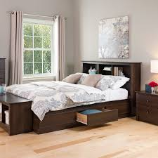 Solid Wood Contemporary Bedroom Furniture Awesome Platform Storage Bed With Headboard 6 Drawer Storage Solid