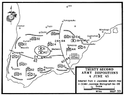 Map 33 thirty second army dispositions 4 june 1945