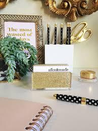 business card holder acrylic gold glitter desk accessory