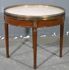 sophisticated french walnut marble round coffee table for
